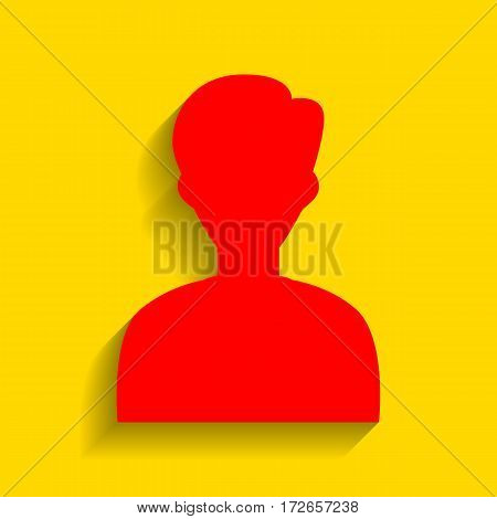 User avatar illustration. Anonymous sign. Vector. Red icon with soft shadow on golden background.