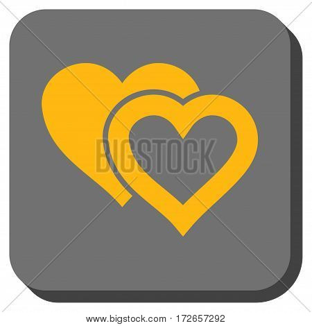 Love Hearts interface button. Vector pictograph style is a flat symbol in a rounded square button yellow and gray colors.