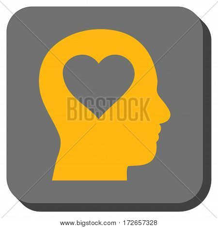 Love In Head interface button. Vector pictogram style is a flat symbol centered in a rounded square button yellow and gray colors.