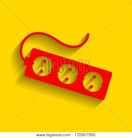 Electric extension plug sign. Vector. Red icon with soft shadow on golden background.