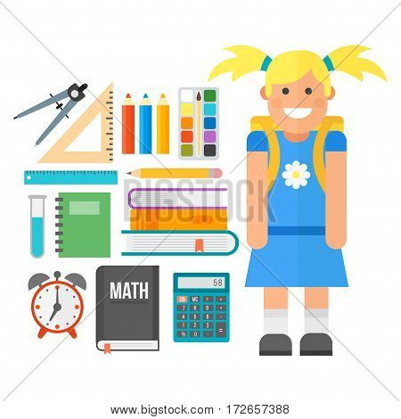 School icon flat set stationery equipment students isolated vector illustration. Mathematics learning teaching art. Science university graduation symbols and schoolkid.