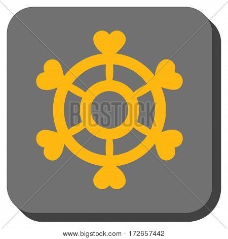 Lovely Boat Steering Wheel interface toolbar icon. Vector pictogram style is a flat symbol in a rounded square button yellow and gray colors.