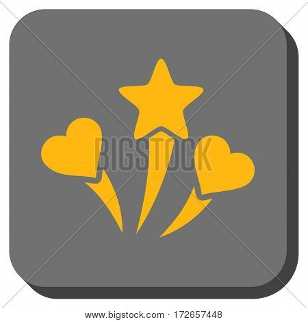 Lovely Fireworks square icon. Vector pictograph style is a flat symbol inside a rounded square button yellow and gray colors.