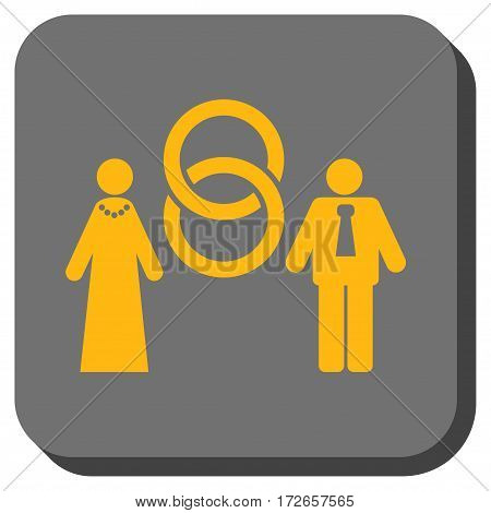 Marriage Persons square button. Vector pictograph style is a flat symbol in a rounded square button, yellow and gray colors.