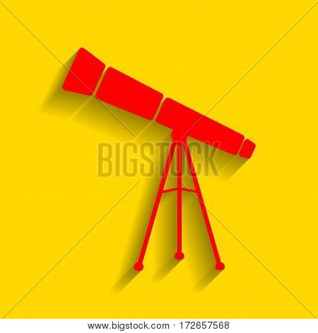 Telescope simple sign. Vector. Red icon with soft shadow on golden background.