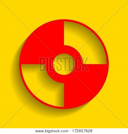 Vector CD or DVD sign. Vector. Red icon with soft shadow on golden background.
