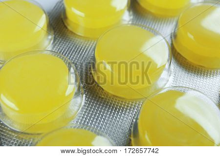 Cough drops in blister pack, closeup