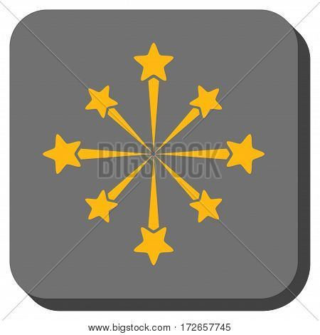 Star Burst Fireworks rounded icon. Vector pictogram style is a flat symbol on a rounded square button, yellow and gray colors.