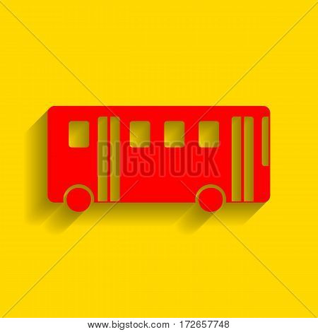 Bus simple sign. Vector. Red icon with soft shadow on golden background.
