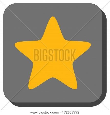 Star rounded icon. Vector pictograph style is a flat symbol on a rounded square button, yellow and gray colors.