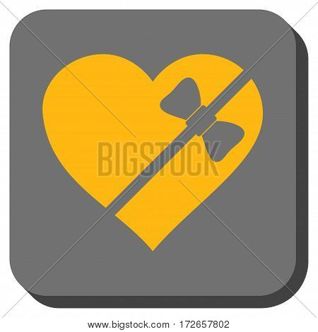 Tied Love Heart rounded button. Vector pictograph style is a flat symbol on a rounded square button, yellow and gray colors.