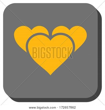 Valentine Hearts toolbar button. Vector pictograph style is a flat symbol centered in a rounded square button, yellow and gray colors.