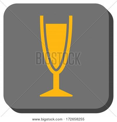 Wine Glass interface button. Vector pictograph style is a flat symbol centered in a rounded square button, yellow and gray colors.