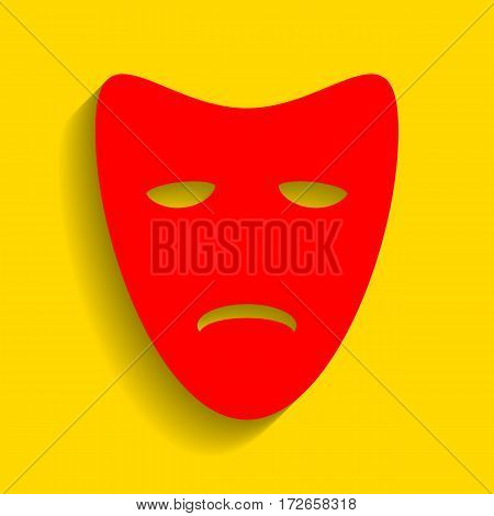 Tragedy theatrical masks. Vector. Red icon with soft shadow on golden background.