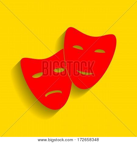 Theater icon with happy and sad masks. Vector. Red icon with soft shadow on golden background.