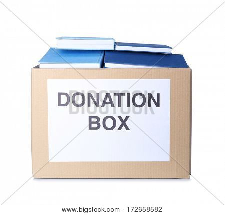 Donation box with books isolated on white