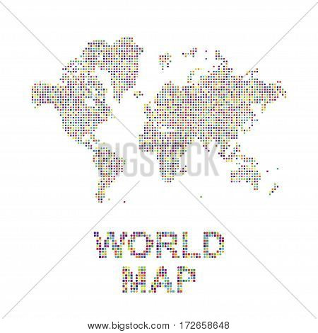 Abstract world map in a round and square dots. Flat vector illustration EPS 10