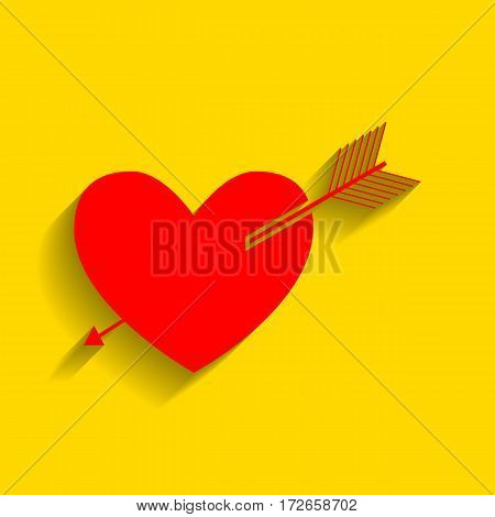 Arrow heart sign. Vector. Red icon with soft shadow on golden background.