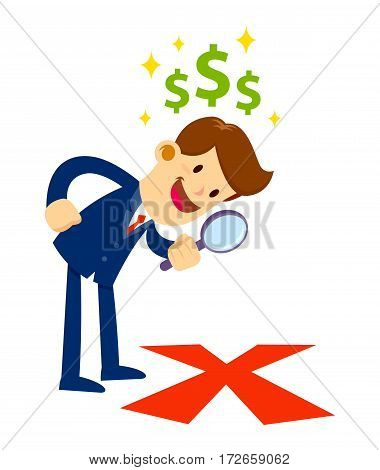 Vector stock of a businessman looking through magnifier glass inspecting big x mark on the floor