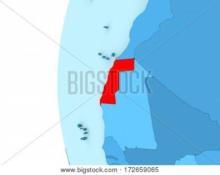 Western Sahara On Blue Globe