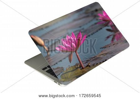 laptop computer tablet with case photo sticker on isolated background
