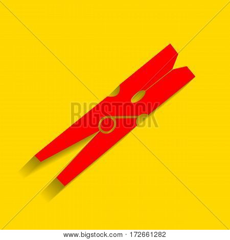Clothes peg sign. Vector. Red icon with soft shadow on golden background.