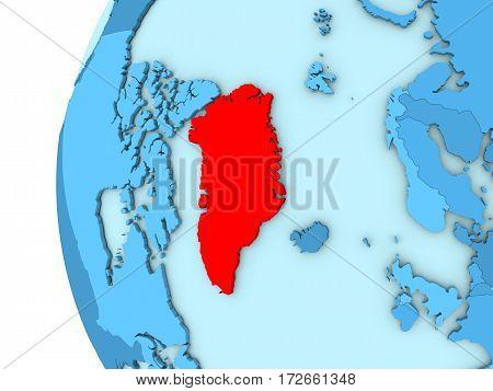 Greenland On Blue Globe