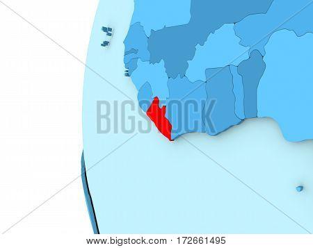 Liberia On Blue Globe