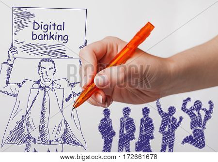 Business technology internet and networking concept. The girl draws a pen businessman with a poster in his hands. The sign reads: Digital banking