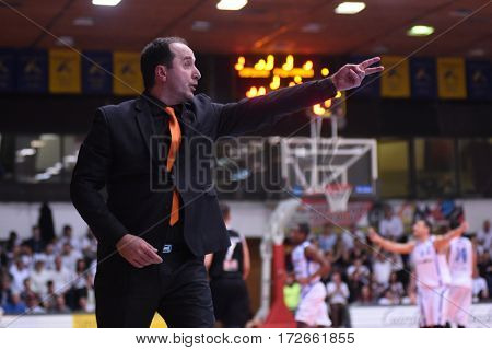 KAPOSVAR, HUNGARY - FEBRUARY 4: Ferenc Csirke (Pecs trainer) in action at Hungarian Championship basketball game with Kaposvar (white) vs. Pecsi VSK (black) on February 4, 2017 in Kaposvar, Hungary.