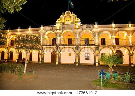Residence of the Captain General of General Captaincy of Guatemala in Antigua during the Spanish colony. Built in the period 1763-1764 gg. Architect: L. Diez Navarro. Guatemala.