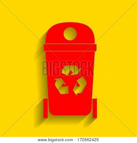Trashcan sign illustration. Vector. Red icon with soft shadow on golden background.