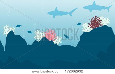 Illustration of fish and coral reef landscape collection