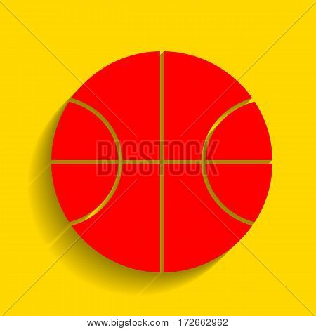 Basketball ball sign illustration. Vector. Red icon with soft shadow on golden background.