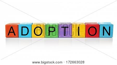 Colorful cubes with word ADOPTION on white background