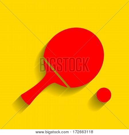 Ping pong paddle with ball. Vector. Red icon with soft shadow on golden background.