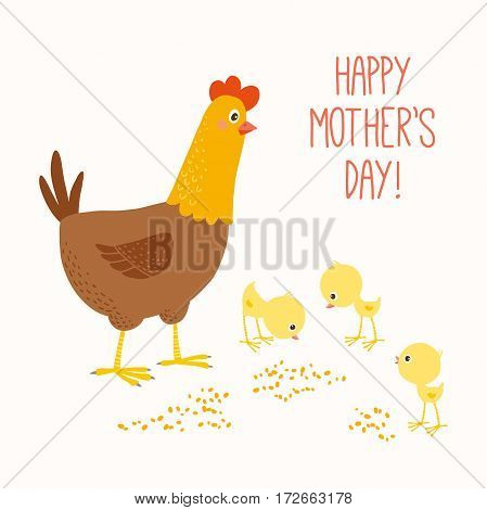Happy mother hen with baby chicks. Easter card. Mothers Day concept. Cartoon clipart eps 10 hand drawn vector illustration isolated on white.