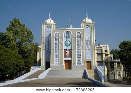 Frontage of modern Church at Jhansi in Uttar Pradesh India Asia
