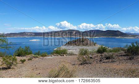 Low water levels at lake pleasant in arizona