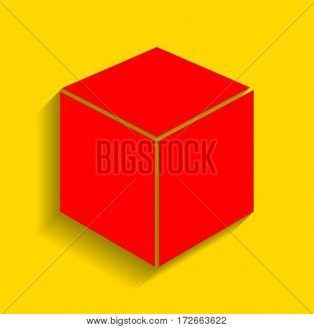 Cube sign illustration. Vector. Red icon with soft shadow on golden background.