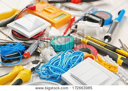 Closeup view of electrician tools