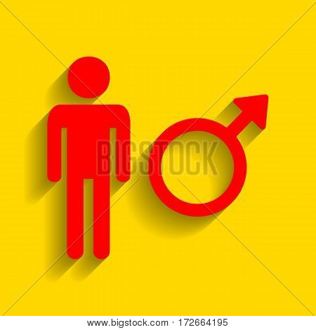 Male sign illustration. Vector. Red icon with soft shadow on golden background.