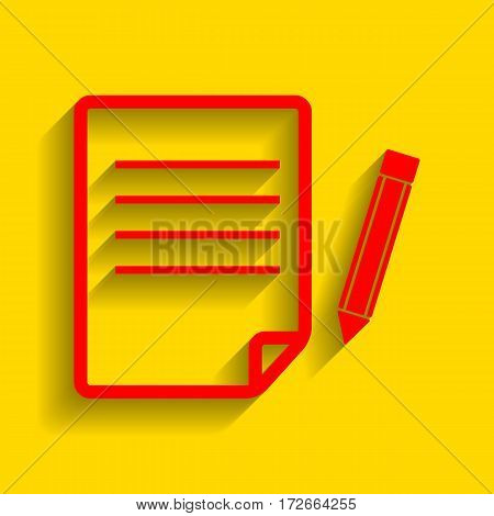 Paper and pencil sign. Vector. Red icon with soft shadow on golden background.