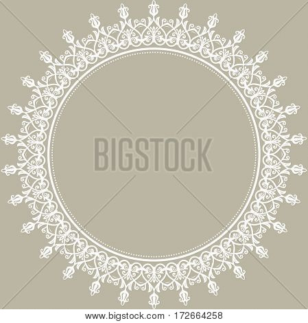 Oriental vector round frame with arabesques and floral elements. Floral fine border with vintage pattern. Greeting card with place for text