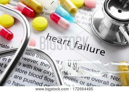 Phrase HEART FAILURE in center of medicines