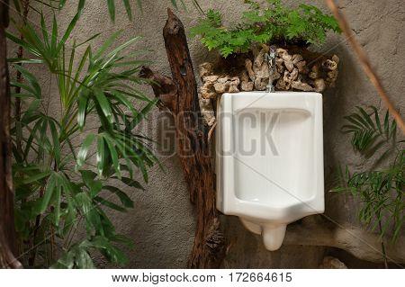 White Urinal In Men's Toilet Room