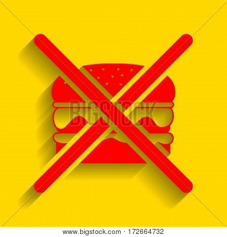 No burger sign. Vector. Red icon with soft shadow on golden background.