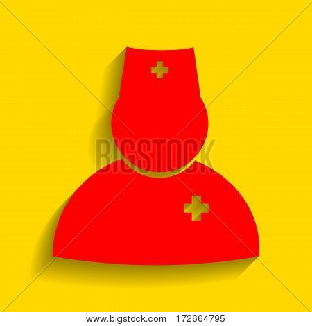 Doctor sign illustration. Vector. Red icon with soft shadow on golden background.