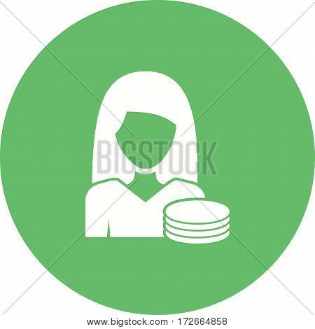 Finance, woman, bills icon vector image. Can also be used for women. Suitable for mobile apps, web apps and print media.