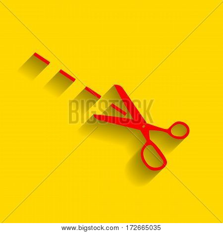 Scissors sign illustration. Vector. Red icon with soft shadow on golden background.